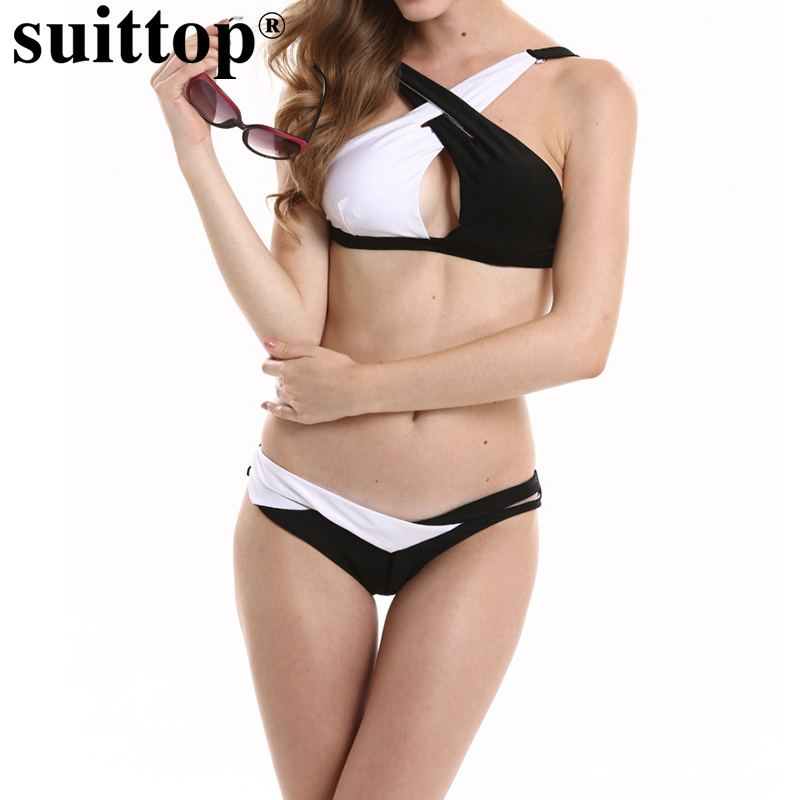 suittop Swimwear Sexy Black White Crisscross Women Bikini Set Swimsuit New Patchwork Push Up Swimming Suit Beach Wear Bquinis цена и фото