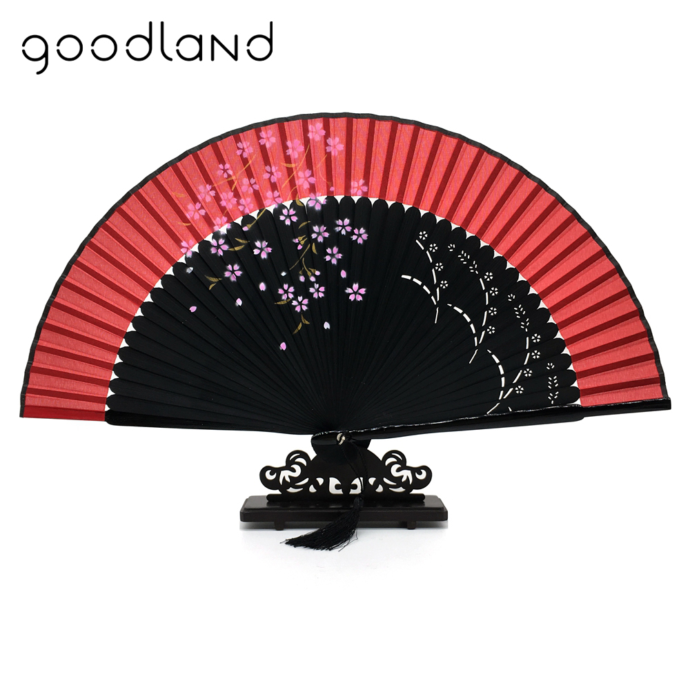 Free Shipping 1pcs High Quality Japanese Silk Sakura Painting Folding Fan With Gift Bag Tassel Wedding Gifts For Guests Party