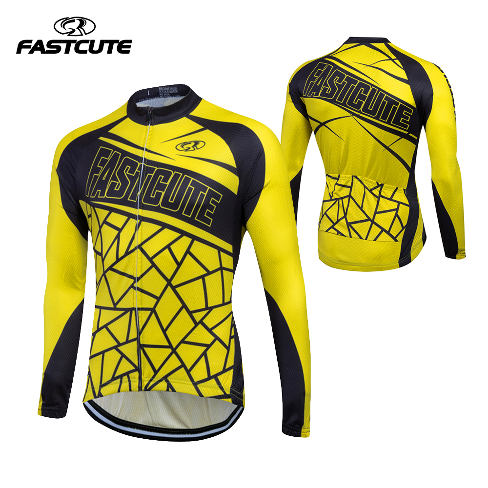 FASTCUTE 2017 100% Polyester Mens Cycling Jersey Long Sleeve Ropa Ciclismo Bicycle Clothing Quick Dry Riding Clothes #0126