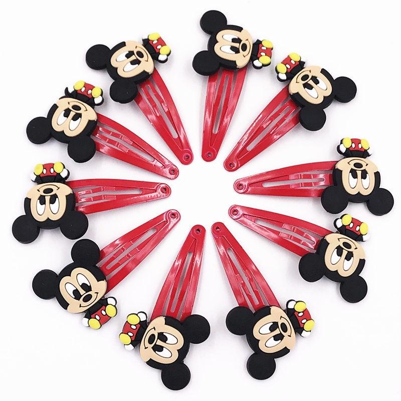 10pcs Mickey Minnie Bow Tie Wave Point Donald Duck Pvc Cartoon Hairpins Girls Hair Accessories Barrette Hair Clips Hairwear #3