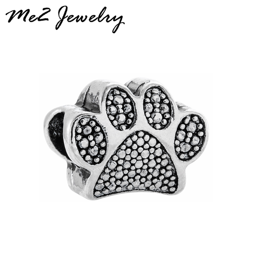Unique Silver Plated Beads Pawprint Beads Charms fit Pan Necklace Bracelet for Women Men Jewelry Accessories