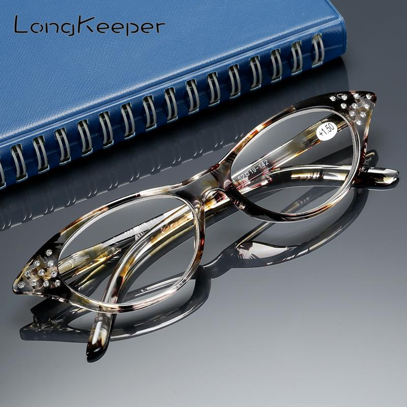 Cat-Eye-Reading-Glasses Rhinestone Farsighted Longkeeper Diopters Spectacles Fashion-Degree
