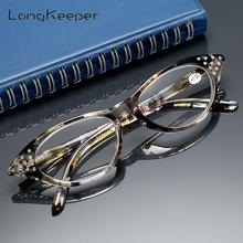 LongKeeper Rhinestone Cat Eye Reading Glasses for Farsighted Floral Womens Spectacles with Diopters Fashion Degree Eyeglasses