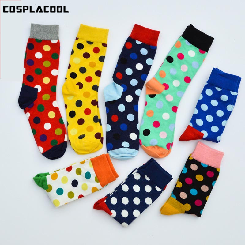 [COSPLACOOL]9 Color Colorful Happy   Socks   British Dot Style Unisex Skateboard   Socks   Cotton Colorful Men's Fashion Business Meias