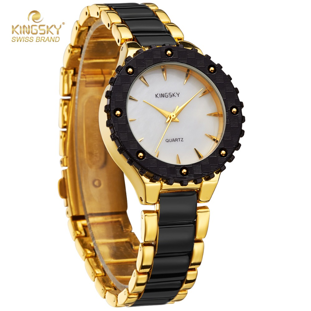 c0c1bf80d28e Kingsky Top Brand Luxury Watches Women Black Gold Imitation Ceramic Quartz  Watch Fashion Women Dress Wrist Watch Lady Wristwatch-in Women's Watches  from ...
