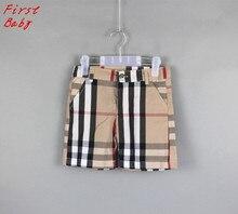 Nouveau design filles garçons kaki plaid shorts enfants occasionnels pantalon d'été bébé fille pantalon belle enfants coton mince pantalon 16D1224