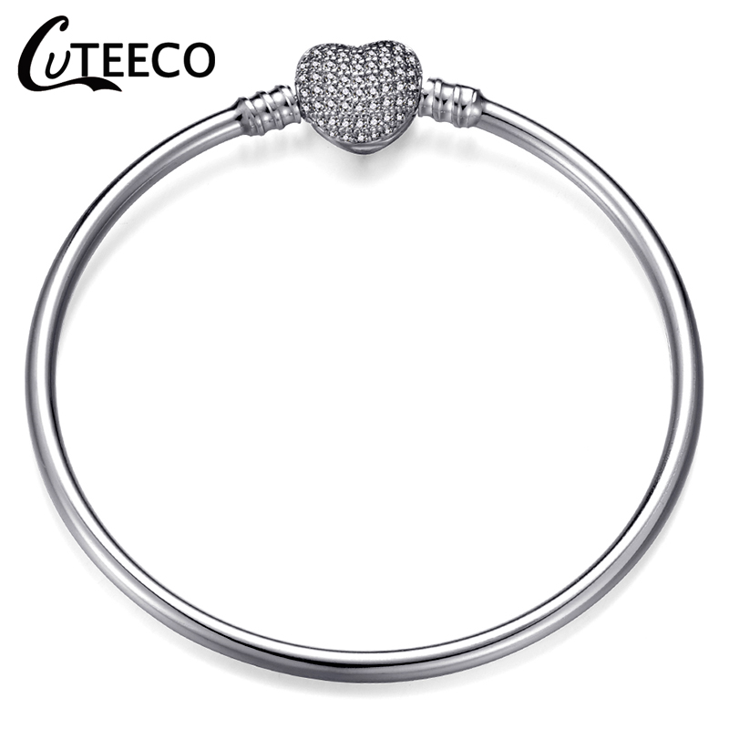 CUTEECO 2019 New Fashion Love Silver Color Charm Bracelet Bangle High Quality Original Fine Bracelets For Women Girl Jewelry in Charm Bracelets from Jewelry Accessories