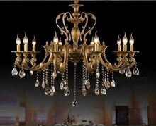 hot deal buy vintage crystal chandelier lighting fixture for dining room foyer brass lustres de cristal luxury pendant lamp indoor lighting