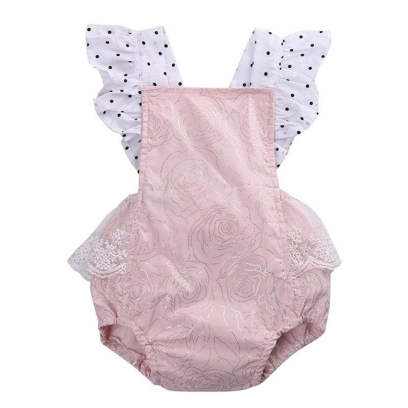 2018 Hot Cute Newborn Baby Girls Clothes Summer Sleeveless Lace Romper Backless Ruffled Babies Toddler Kids Sunsuit Bebes Outfit pudcoco newborn baby girl clothes 2017 summer sleeveless floral romper backless jumpsuit sunsuit children clothes