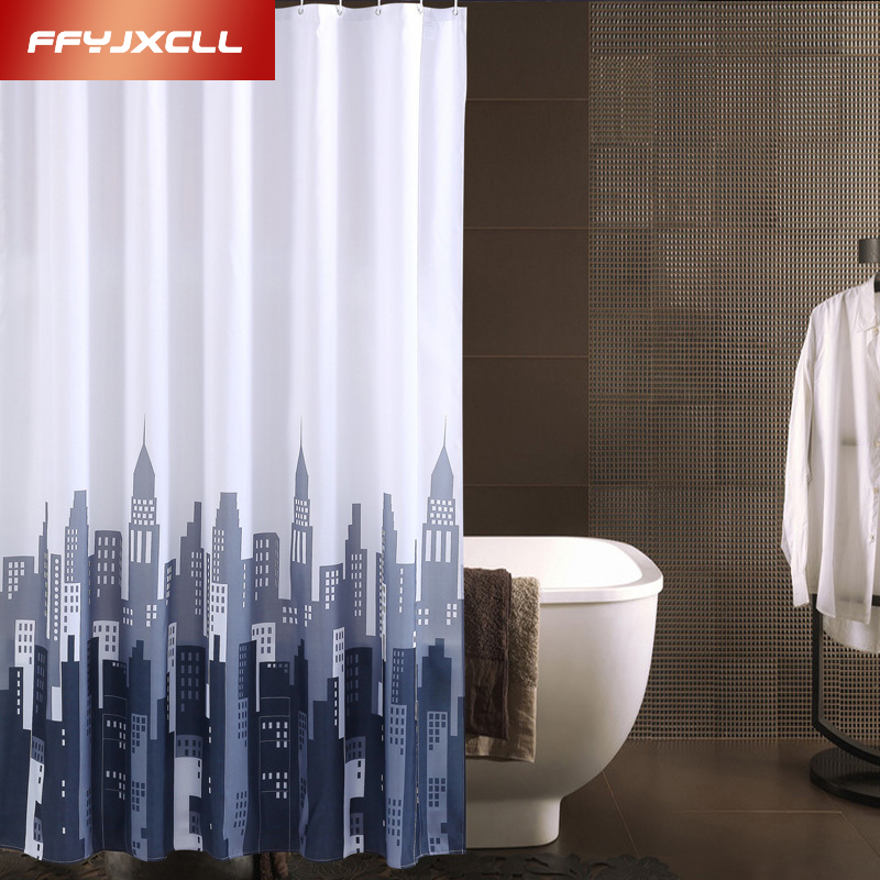 Modern Pretty Cityscape View Bathing Waterproof Bathroom Fabric Shower  Curtain(China (Mainland))