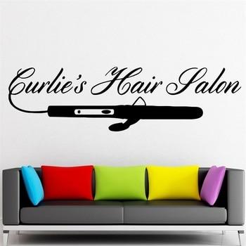 Pegatina de pared vinilo calcomanía rizador plancha salón de belleza peluquería Spa