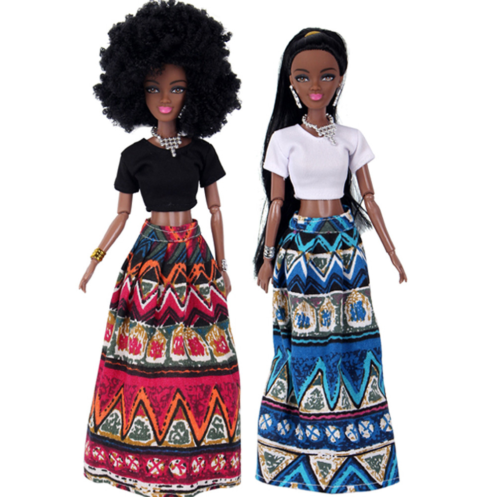 2019 NEW Baby Dolls For Girls Baby Movable Joint African Doll Toy Black Doll Best Gift Toy Hot sale baby dolls for kids(China)