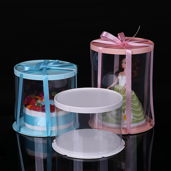 8set 6/8 inch Clear plastic Round paper pad Cake holder Boxes Birthday Bakery carrier Transparent Dome packaging Container Box