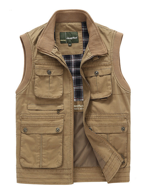 Wildgeeker мужская Жилеты Твердые 100% Хлопок Рукавов Повседневная Жилет Куртка Жилеты Army Green Zipper Multi-pocket Plus Размер М-3XL