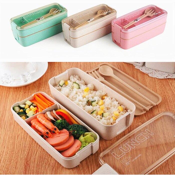 750 ml Material saludable 2 capas caja de almuerzo paja de trigo Bento cajas microondas vajilla de almacenamiento de alimentos caja de almuerzo