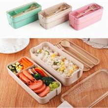 750 мл здоровый материал 2 слои коробки для обедов пшеничной соломы Bento коробки микроволновая печь столовая посуда еда контейнер хранен