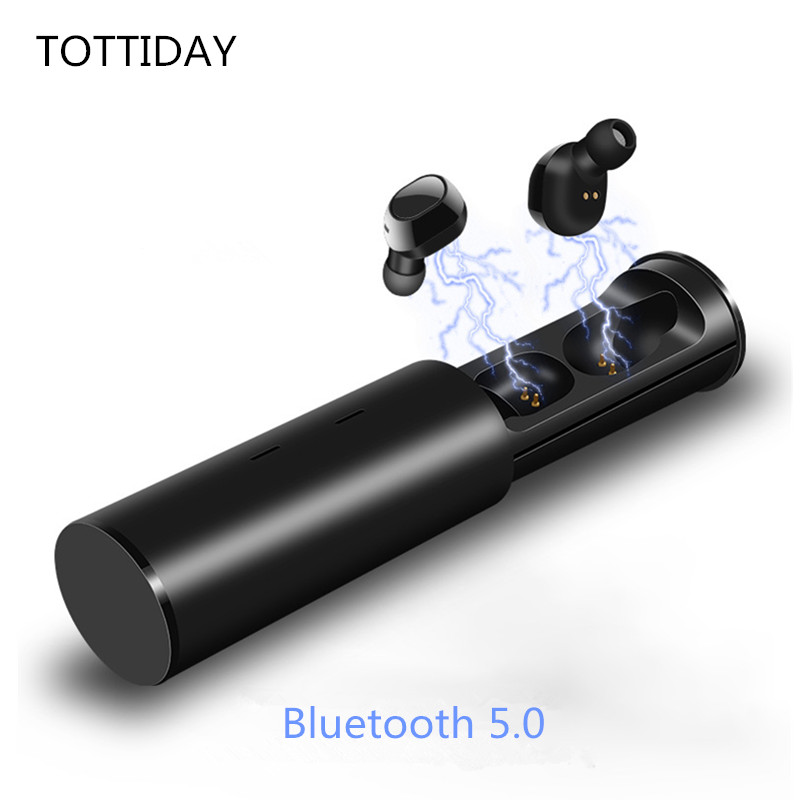 TOTTIDAY Mini Wireless Earbud <font><b>TWS</b></font> Bluetooth 5.0 CVC Noise Reductio Stereo Earphone HiFi in-Ear Headset with Charge Box image