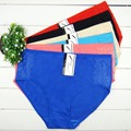 Free Shipping Big yards 2XL/3XL/4XL Women's panties underwear waist solid color cotton pants mom middle-aged women briefs 86957