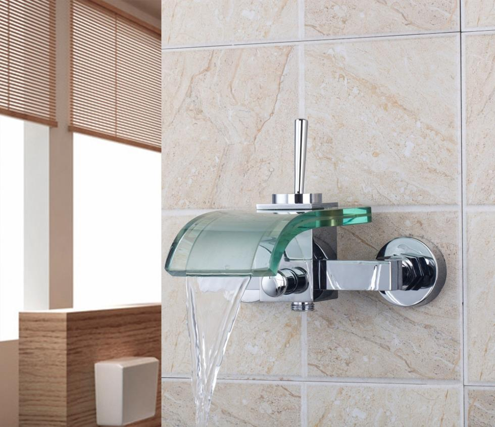 8207B/6 Wall Mounted Waterfall Single Lever Dual Control Contemporay Chrome Clear Glass Spout With Handheld Shower Mixer Faucet