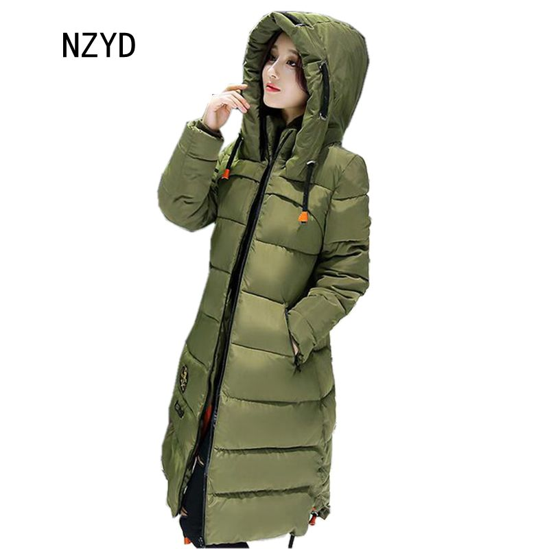 2017 Latest Winter Fashion Women Down jacket  Hooded Thick Super warm Medium long Coat Long sleeve Loose Big yards Parkas NZ263 2017 new women winter parkas fashion hooded thick warm medium long down cotton jacket long sleeve loose big yards female coat