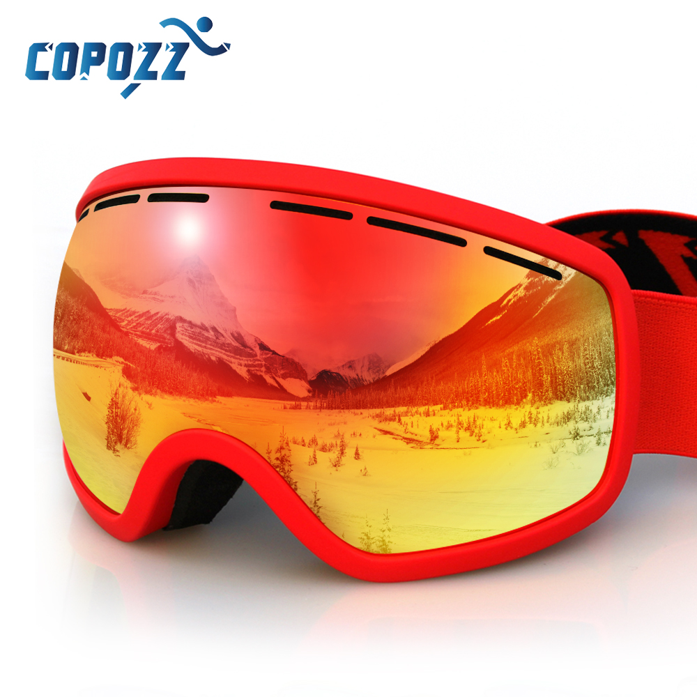 COPOZZ Brand ski goggles Double Layers UV 400 Anti-fog big Ski mask glasses Skiing Eyewear men & women snow snowboarding goggles(China)