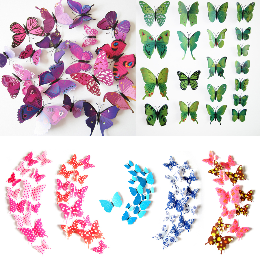 2015 fashion cute 12pcs pvc 3d butterfly wall sticker for Butterfly decorations for home