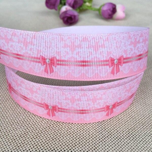 1 «25 мм новая распродажа 10yard розовый кружевной бант печатных ребро ленты DIY аксессуары для волос подарочная упаковка вечерние лентами