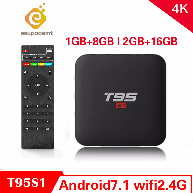 T95 S1 Amlogic S905W Android 7.1 TV Box 2GB16GB Smart Tv 4K H.264 HD Media Player T95S1 2.4G Wifi Wireless Set Top Box PK X96min