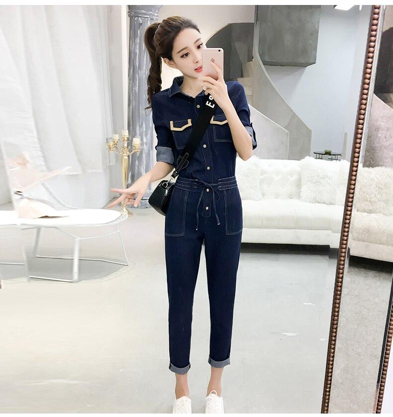 Autumn Jumpsuits Casual Jeans For Women Patchwork One Piece Pants Pockets Bodysuit Women Combinaison Femme Overalls Female 13