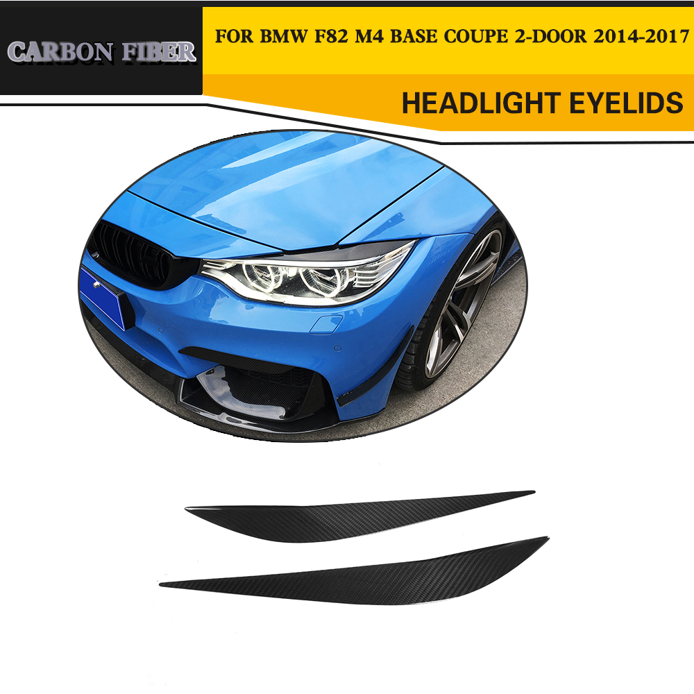 Car-Styling Carbon Fiber Front Headlight Eyebrows Eyelids Trims for BMW F80 M3 F82 M4 Base Coupe Convertible 2-Door 2014-2017