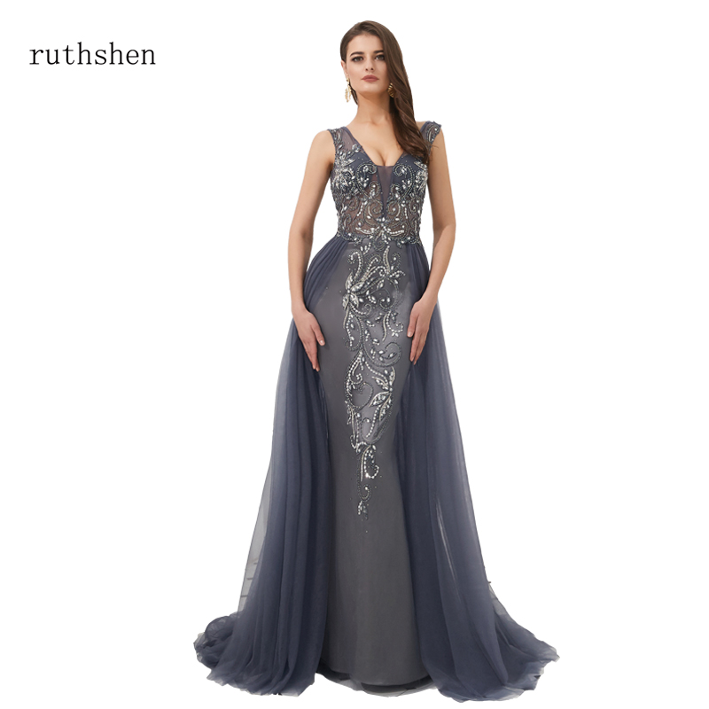 ruthshen 2019 new Vintage Sexy Backless Mermaid   Dresses     Evening     Dress   Islamic Dubai Saudi Arabic Formal Gown with Long Trail