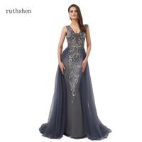 ruthshen 2019 new Vintage Sexy Backless Mermaid Dresses Evening Dress Islamic Dubai Saudi Arabic Formal Gown with Long Trail