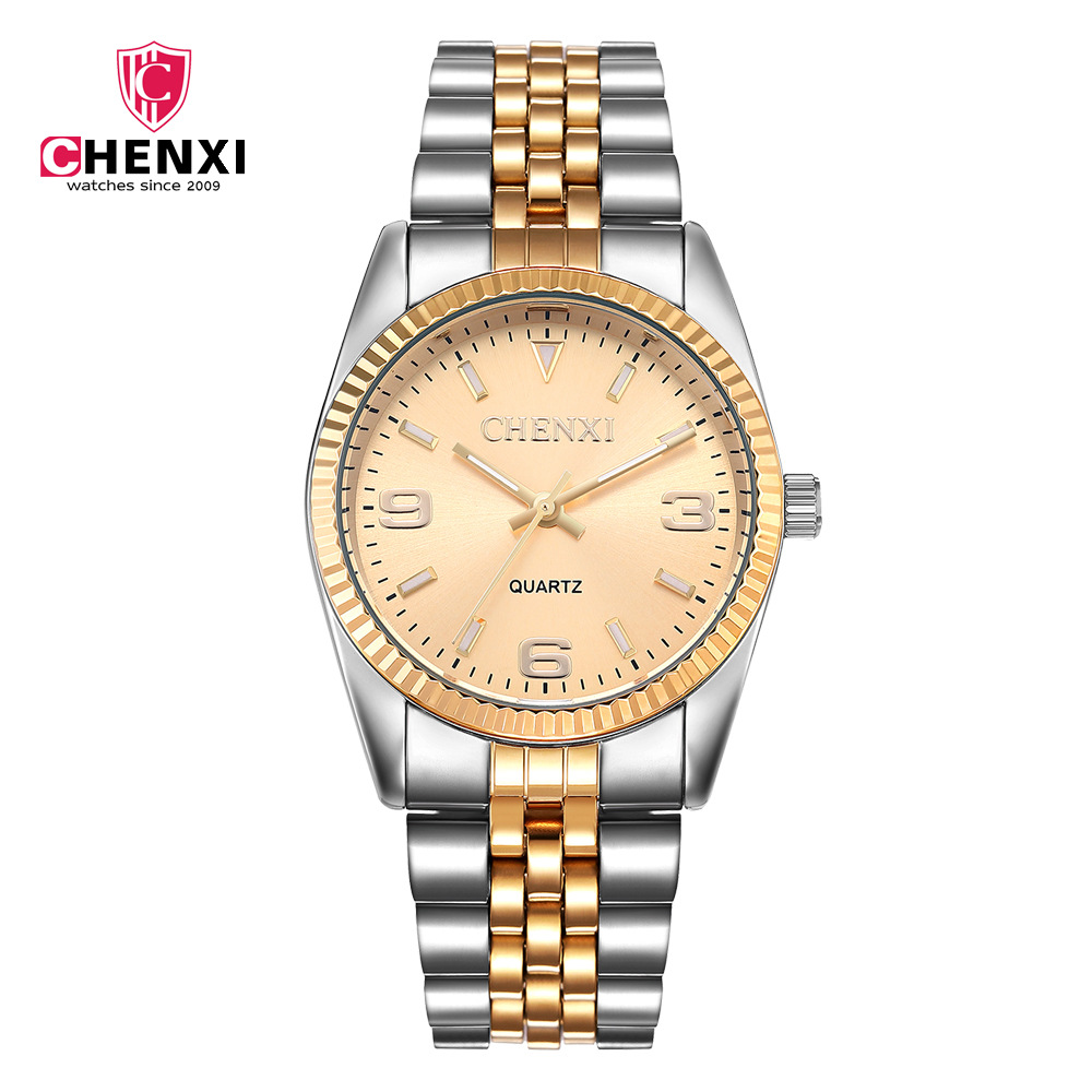 CHENXI Luxury Men Watch Silver Between Gold Rhinestone Lover's Wristwatches Nail Strap Classic Retro Man Women Business Watches