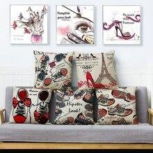 Funda de cojín de impresión cosmética de dibujos animados de chica de moda fundas de almohada de lino Beige 45*45 fundas de almohadas para sofá decoración del hogar funda de almohada