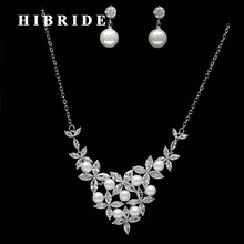 HIBRIDE Brazil Style Flower Clear Cubic Zirconia Pearl Jewelry Sets Women Bridal Necklace Earring Set Dress Accessories N-261(China)