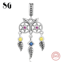 925 Sterling Silver Hollow Owl Dreamcatcher With Zircon Beads Fit Authentic Pandora Charms Bracelet For Women