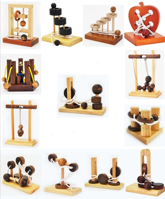 Desk Novelty 3D Wooden Rope Loop Puzzle IQ Mind String Brain Teaser Game For Adults Kids
