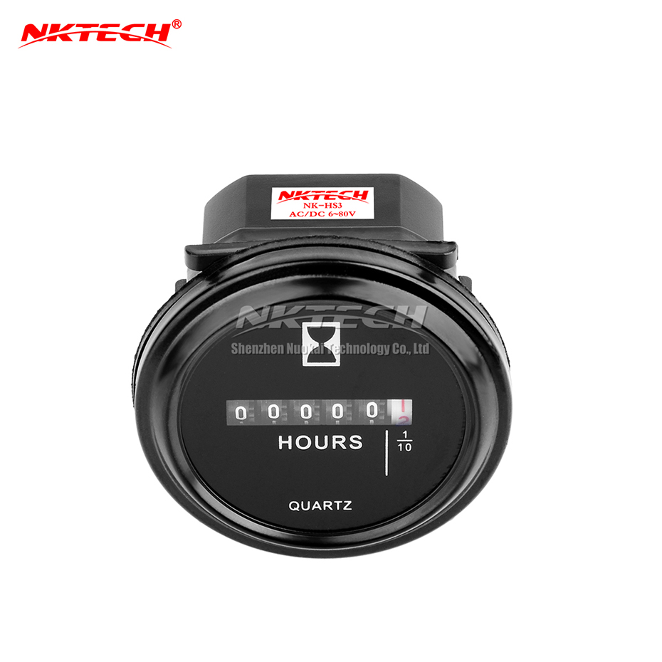 NKTECH Quartz Hour Meter Round NK-HS3 Meters Time Counter For Boat Generator Car Truck Motorcycle Marine Engine Snowmobile Mower