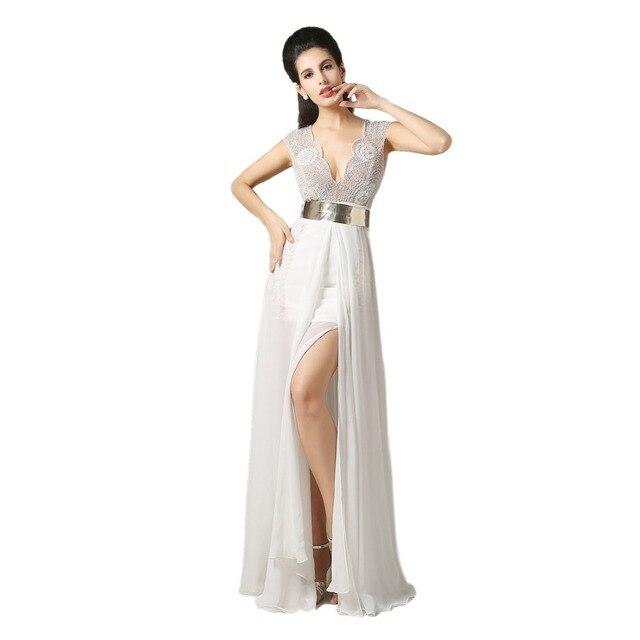 Sexy Dorado Prom Con Vestidos Marfil Real En Cinturón Rebordear Cuello Fiesta De V Hecho rzw7rvRq
