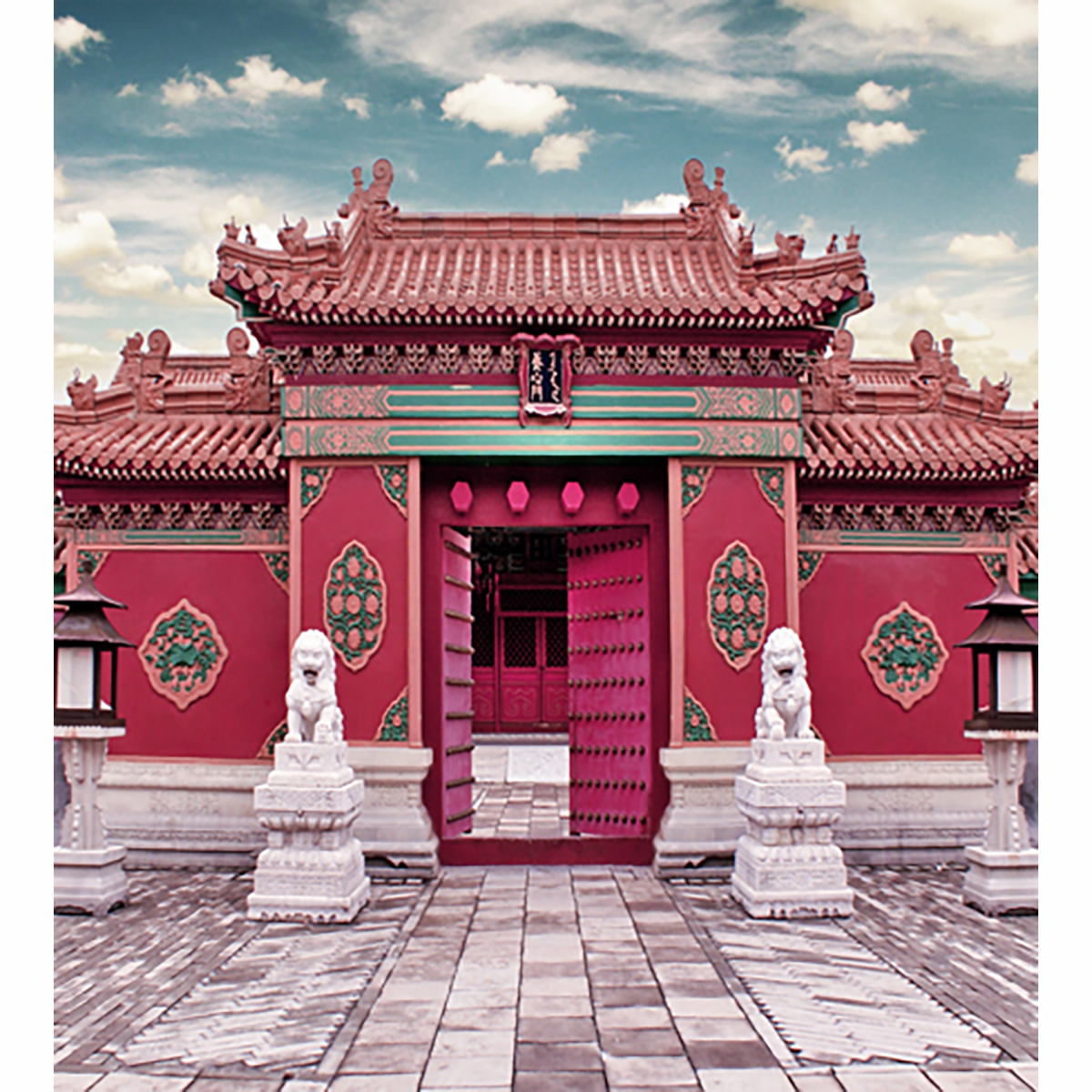 Allenjoy New Photography Background China Style Palace Red Door