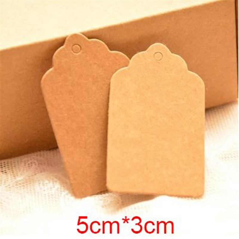 100 Kraft Brown Paper Plain Blank Wedding Gift Tag Scallop Label String Cord