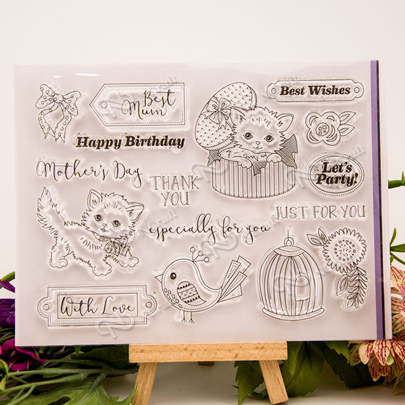 Lovely cat design for children gift DIY scrapbook paper card rubber transparent clear stamp 17x13cm T-0218 free shipping clear acrylic a3a4a5a6 sign display paper card label advertising holders horizontal t stands by magnet sucked on desktop 2pcs