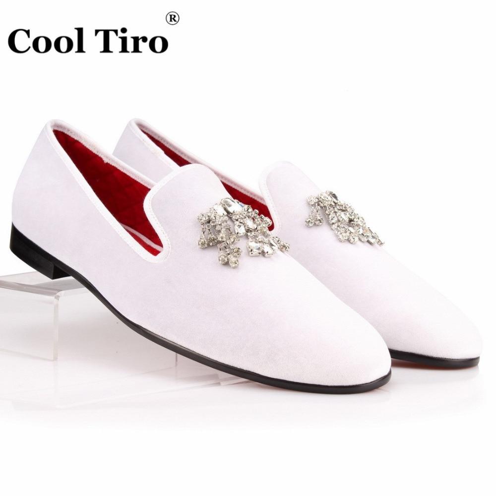 Crystal Tassel White velvet Loafers Men Flats (4)