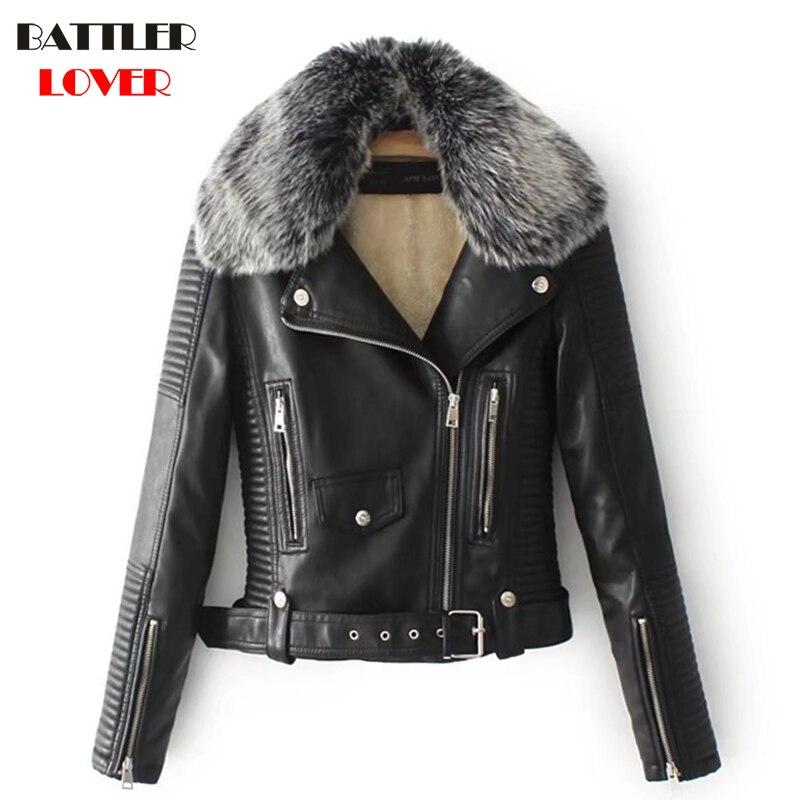 2018 Women   Leather   Jacket Winter Fur Collar Jackets Womens Fleece Lined Luxury Design Hip Hop Biker Jacket Mujer Femme Warm Coat