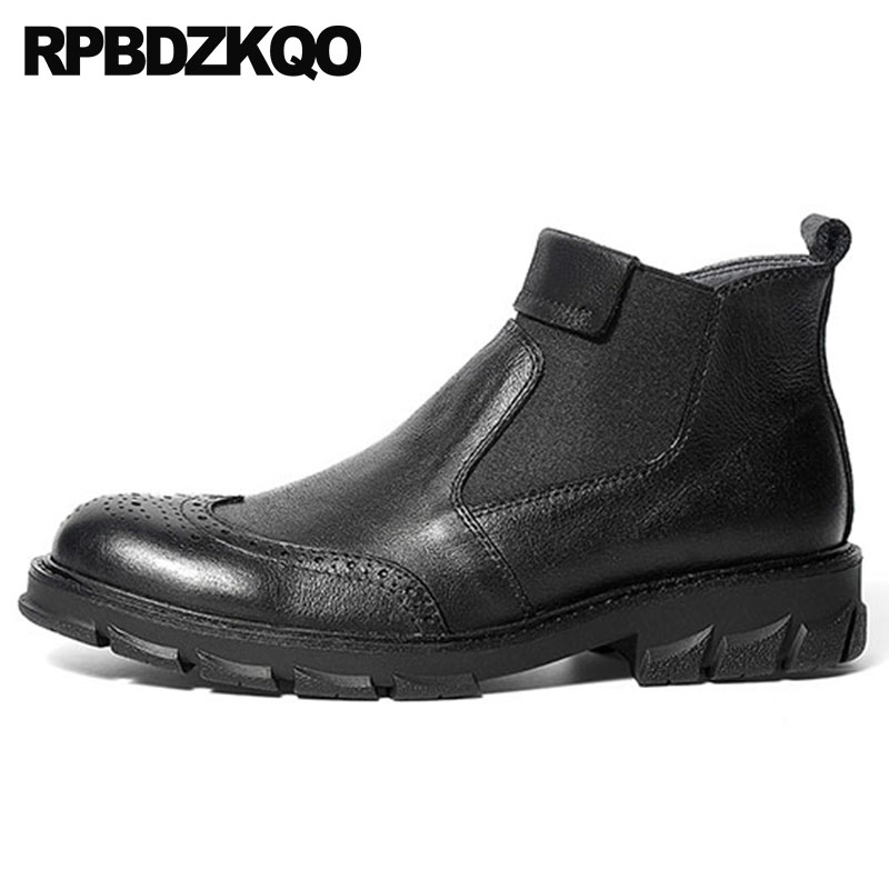 Short shoes british style chelsea mens winter boots warm brogue slip on full grain leather black genuine fall wingtip fur ankle