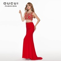 Real Photos High Quality Red Color Long Prom Dress vestido de festa Crop Top OL102778