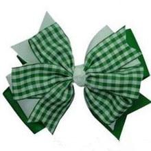 Tartan Plaid Hair Bow Hunter Green Red Ribbon Christmas Girls Free Shipping