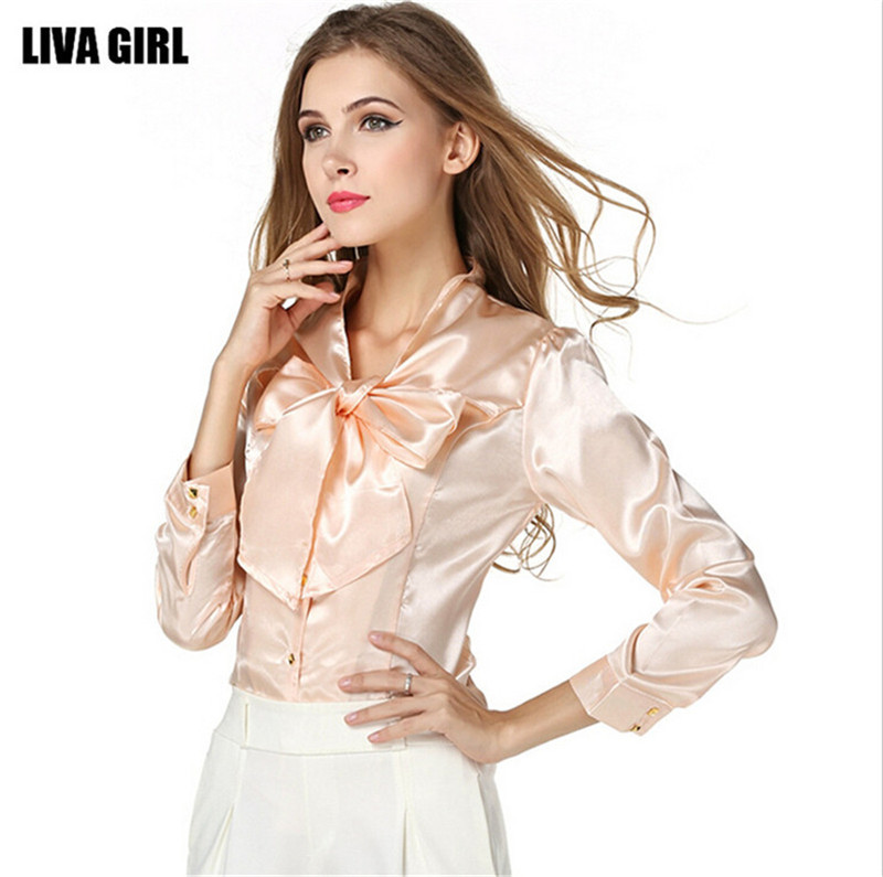 aa60af9bc4bf49 Mainland Plus Size S-3XL Bow Slim Shirt Blouse Elegant Fashion Women's Slim Satin  Blouse