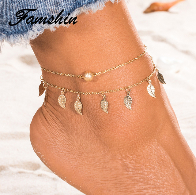 FAMSHIN Summer Beach 2 Color Double Leaves Pendant Anklet Foot Chain Bohemian Handmade Beads Anklets Foot Gothic Boho Jewelry