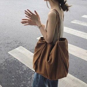 Image 1 - JIAOO Bolso de lona reutilizable para mujer, bolsas de la compra Bolso grande, bolso de mano femenino de alta capacidad, informal, bandolera de Color sólido